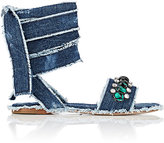 Miu Miu Women's Embellished Denim Ankle-Tie Sandals