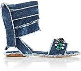 Miu Miu Women's Embellished Denim Ankle-Tie Sandals
