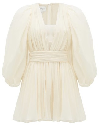 Giambattista Valli Plunge-neck Gathered Silk-georgette Mini Dress - White