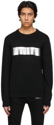 Givenchy Black and Silver Latex Band Sweater