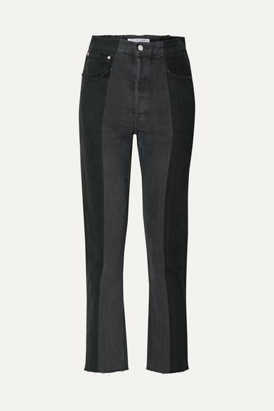 E.L.V. Denim + Net Sustain The Twin Two-tone High-rise Straight-leg Jeans - Black