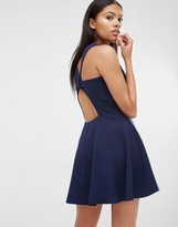 Love Navy Twist Back Guage Strap Skater Dress