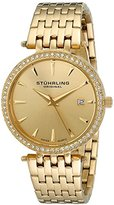 Stuhrling Original Garland Women's Quartz Watch with Gold Dial Analogue Display and Gold Stainless Steel Bracelet 579.03