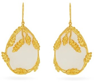 Aurelie Bidermann Francoise Gold-plated Mother-of-pearl Earrings - Womens - White Gold
