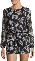 Lucca Couture Theresa Floral Long-Sleeve Romper, Black/Multi