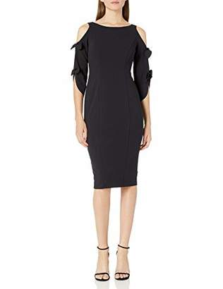 Donna Morgan Women's Stretch Crepe Tie Sleeve Midi Dress