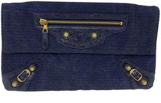 Balenciaga Navy Cotton Clutch bags
