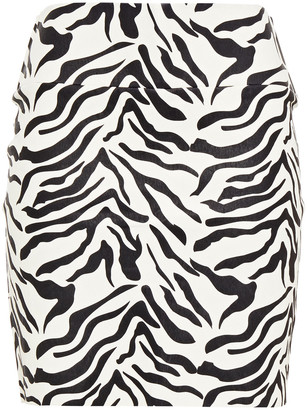 Sprwmn Zera-print Stretch-leather Mini Skirt