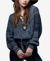 Free People Hoops And Hollas Lace-Up Sweater