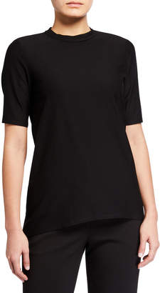 Eileen Fisher Plus Size Mock-Neck Short-Sleeve Stretch Crepe Top