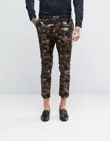 Asos Super Skinny Tuxedo Suit Pants in Bronze Camo Print