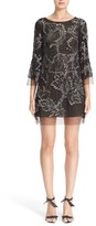 Marchesa Women's Embellished Three Quarter Sleeve Tulle Tunic