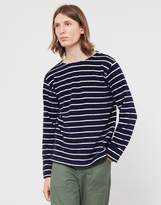 Armor Lux Striped Towelling Sweatshirt Navy & Off White