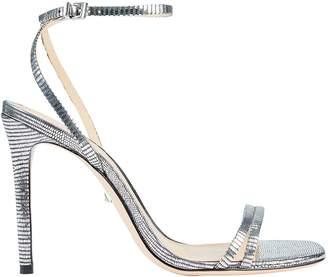 Schutz Altina Lizard-Embossed Metallic Sandals