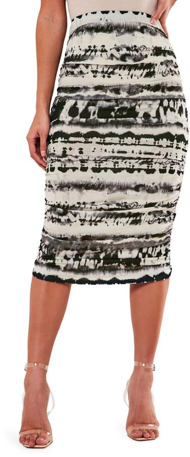 Missguided Tie-Dyed Midi Skirt
