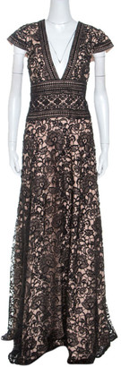 Monique Lhuillier Black And Beige Lace V Neck Maxi Dress L