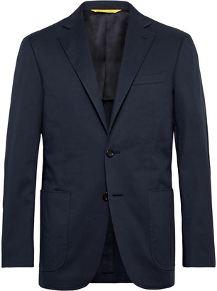 Canali Navy Kei Slim-Fit Cotton-Blend Suit Jacket