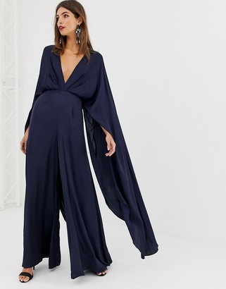 Asos Edition EDITION cape sleeve jumpsuit in satin-Navy