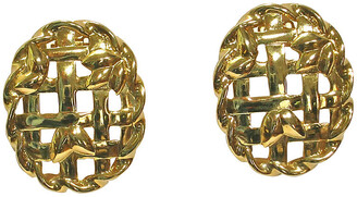 One Kings Lane Vintage Givenchy Lattice Gold Plate Earrings - Wisteria Antiques Etc