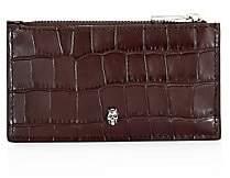 Alexander McQueen Men's Skull Crocodile-Embossed Leather Zip Card Case