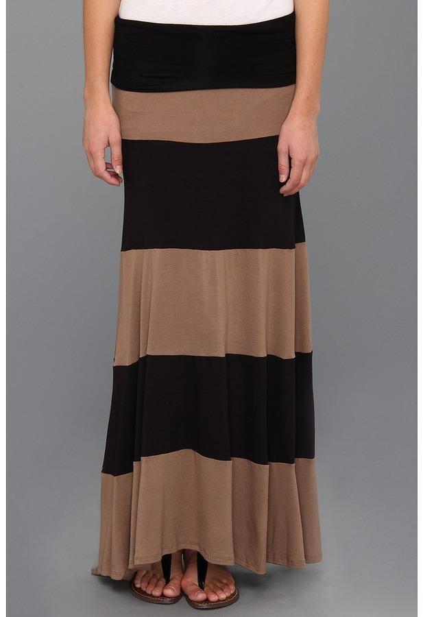 Type Z Arie Colorblock Maxi Skirt (Black/Mocha) - Apparel