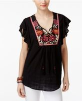 Style&Co. Style & Co Embroidered Butterfly-Sleeve Top, Only at Macy's