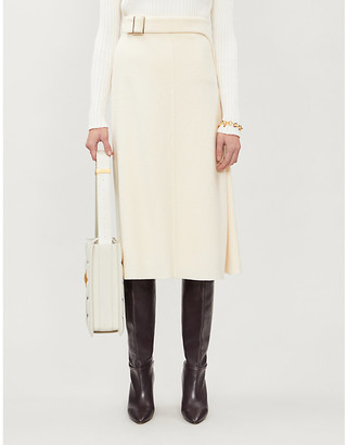 Selfridges Vestiaire Collective Chanel belted wool midi skirt