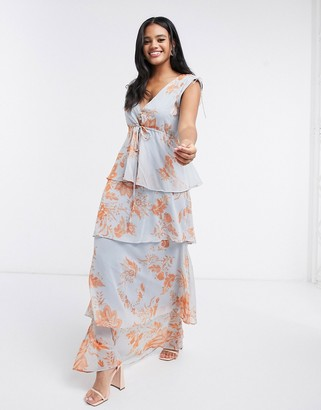 Hope & Ivy button front tiered maxi dress with tie waist in blue and orange floral