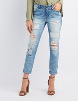 Charlotte Russe Refuge Crochet-Trim Destroyed Skinny Jeans