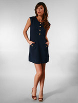 Velodromo Cap Sleeve Dress in Navy with Gold Buttons