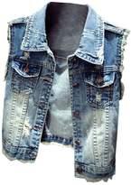 Partiss Women's Fashion Hole Sleeveless Demin Vest Jacket,Chinese S