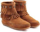 Minnetonka Concho Fringed Suede Ankle Boots with Studs