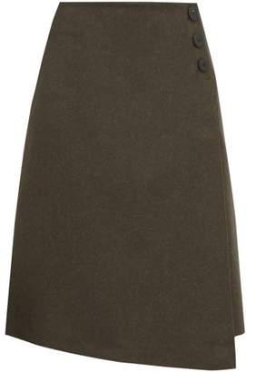 Cefinn - Felted Wool-blend A-line Skirt - Womens - Khaki