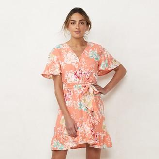 Lauren Conrad Women's Ruffle Wrap Dress