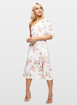 Miss Selfridge PETITE White 1 Shoulder Floral Print Skater Dress