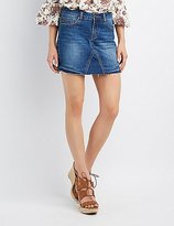 Charlotte Russe Frayed Denim Mini Skirt