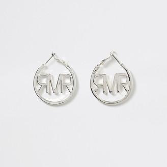 River Island Girls silver tone RI logo hoop earring