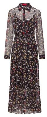 HUGO BOSS Tiered Shirt Dress In Silk Chiffon With Collection Print - Patterned