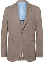 Hackett Brown Delave Slim-Fit Herringbone Linen Blazer
