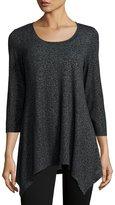 Neiman Marcus 3/4-Sleeve Asymmetric-Hem Tunic Tee, Gray Pattern