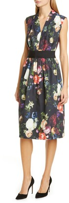 ADAM by Adam Lippes Floral Print Stretch Poplin Dress