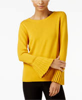 NY Collection Crew-Neck Pleated-Cuff Sweater