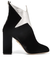 Charlotte Olympia Galactica Metallic Leather And Velvet Ankle Boots - Black