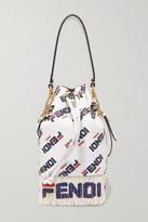 Fendi Logo-printed Fringed Leather Shoulder Bag - White