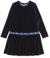 Florence Eiseman Stretch Velvet Dress w/ Bows, Size 7-10
