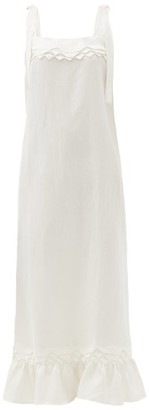 Adriana Degreas Tiered-hem Linen-blend Maxi Dress - Ivory