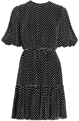 Derek Lam 10 Crosby Kala Dotted Puff-Sleeve Flare Dress