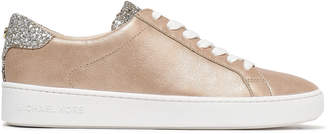 MICHAEL Michael Kors Irving Glitter-paneled Metallic Leather Sneakers