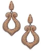 Azaara Crystal and Sterling Silver Scroll Drop Earrings