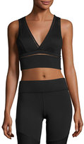Michi Plunge Open-Back Sport Crop Top, Black